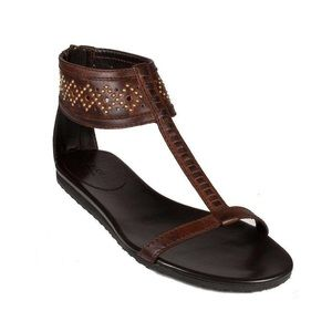 Gucci Leather T strap brown gladiator sandals